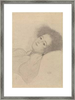 Portrait Of A Young Woman Reclining Framed Print by Gustav Klimt