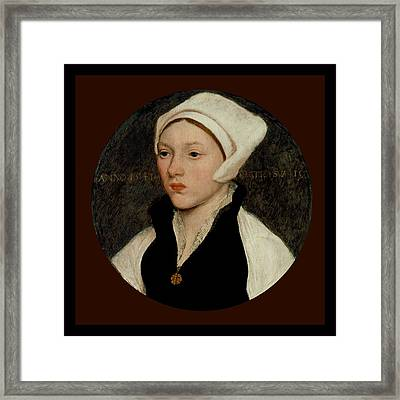 Portrait Of A Young Woman With A White Coif - 1541 Framed Print by Hans Holbein the Younger