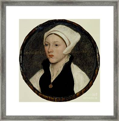 Portrait Of A Young Woman With A White Coif Framed Print by Celestial Images