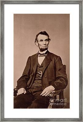 Portrait Of Abraham Lincoln Framed Print by Mathew Brady