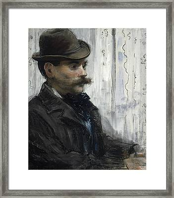 Portrait Of Alphonse Maureau Framed Print by Edouard Manet