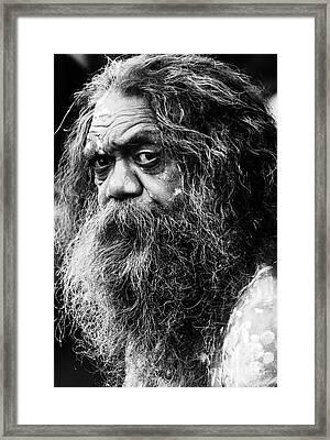 Portrait Of An Australian Aborigine Framed Print by Avalon Fine Art Photography