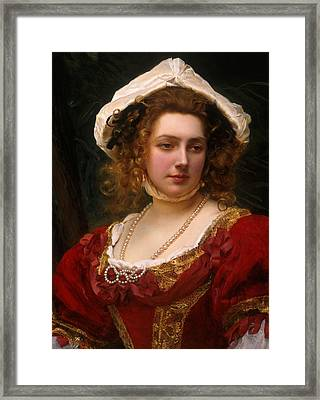 Portrait Of An Elegant Lady In A Red Velvet Dress Framed Print by Gustave Jacquet