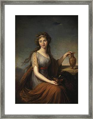 Portrait Of Anna Pitt As Hebe Framed Print by Elisabeth Louise Vigee-Lebrun