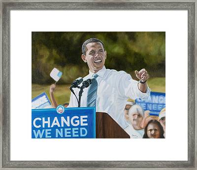 Portrait Of Barack Obama The Change We Need Framed Print by Christopher Oakley