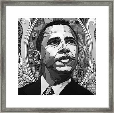 Portrait Of Barak Obama Framed Print by John Gibbs