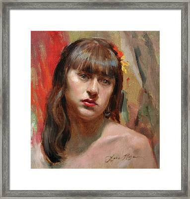 Portrait Of Kat Framed Print by Anna Rose Bain