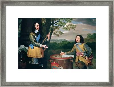 Portrait Of Charles I And Sir Edward Walker Framed Print by English School