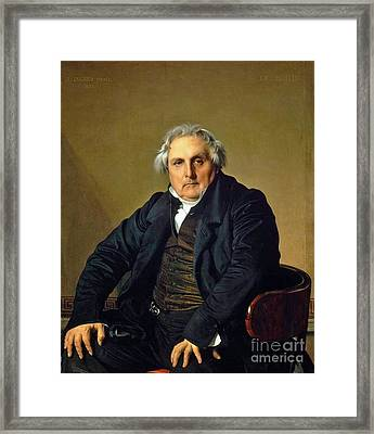 Portrait Of French Journalist Louis Framed Print by Jean