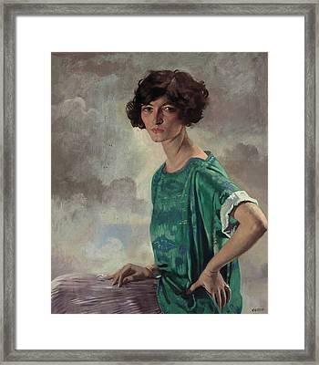 Portrait Of Gertrude Sanford Framed Print by William Orpen