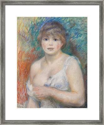 Portrait Of Jeanne Samary Framed Print by Pierre Auguste Renoir