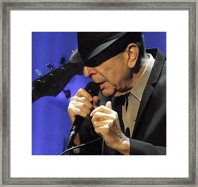 Portrait Of Leonard Cohen In Concert Framed Print by John C Bourne