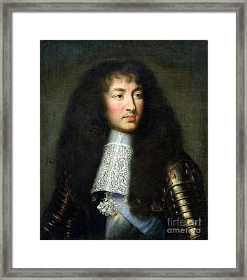 Portrait Of Louis Xiv Framed Print by Charles Le Brun