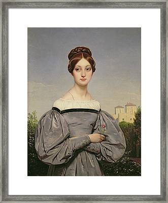 Portrait Of Louise Vernet Framed Print by Emile Jean Horace Vernet