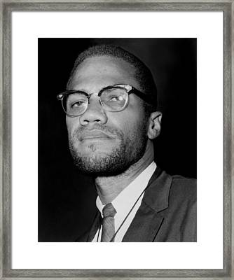 Portrait Of Malcolm X. 1964-65 Framed Print by Everett