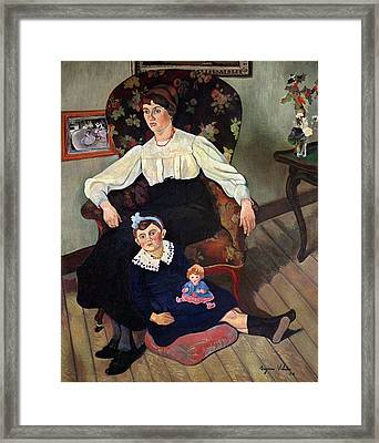 Portrait Of Marie Coca And Her Daughter Framed Print by Marie Clementine Valadon
