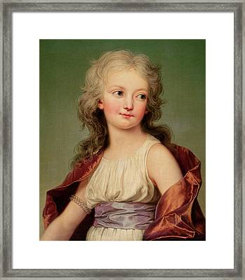 Portrait Of Marie-therese Charlotte Of France Framed Print by Adolf Ulrich Wertmuller