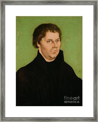 Portrait Of Martin Luther Framed Print by Lucas Cranach the Elder
