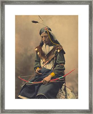 Portrait Of Oglala Sioux Council Chief Bone Necklace Framed Print by American School