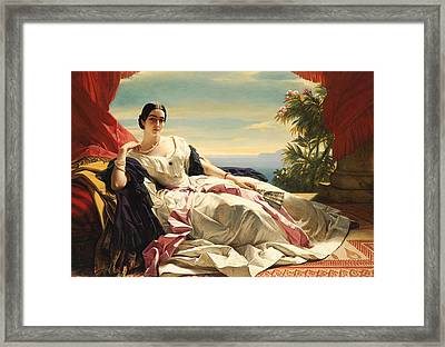 Portrait Of Princess Leonilla Framed Print by Franz Xaver Winterhalter