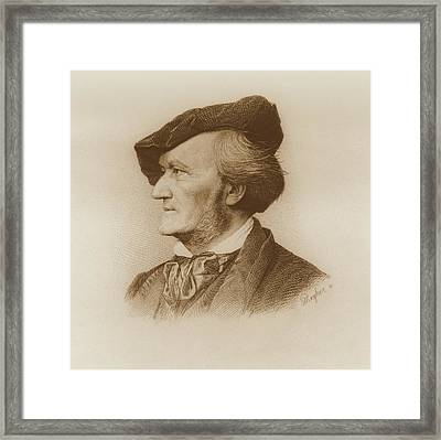 Portrait Of Richard Wagner Framed Print by Robert Reyher