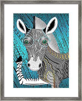 Portrait Of The Artist As A Young Zebra Framed Print by Becky Titus