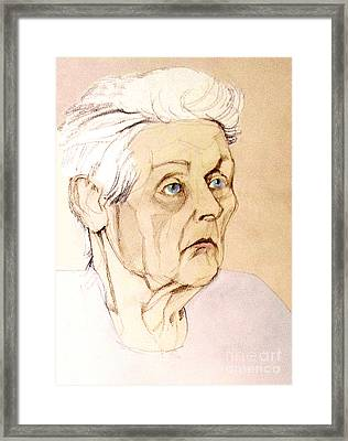 Pastel Colored Portrait Of An Old Lady Framed Print by Greta Corens