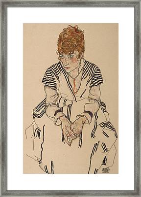 Portrait Of The Artist's Sister-in-law, Adele Harms Framed Print by Egon Schiele
