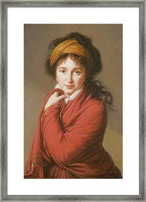 Portrait Of The Countess Nikolai Nikolaevich Golovin Framed Print by Elisabeth Louise Vigee-Lebrun