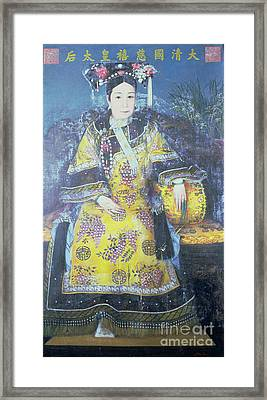 Portrait Of The Empress Dowager Cixi Framed Print by Chinese School