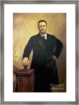 Portrait Of Theodore Roosevelt Framed Print by John Singer Sargent