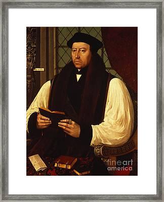Portrait Of Thomas Cranmer Framed Print by Gerlach Flicke