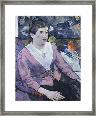 Portrait Of Woman With Still Life  Framed Print by Paul Gauguin