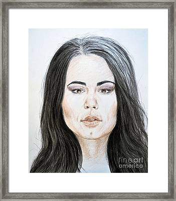 Portrait Of Wwe Superstar Paige Framed Print by Jim Fitzpatrick