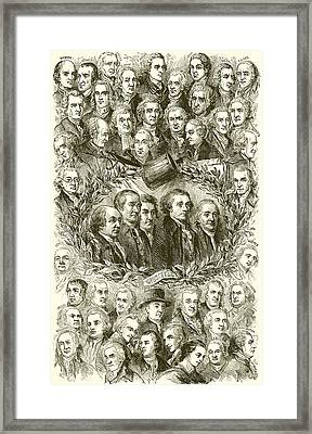 Portraits Of The Signers Of The Declaration Of Independence Framed Print by American School