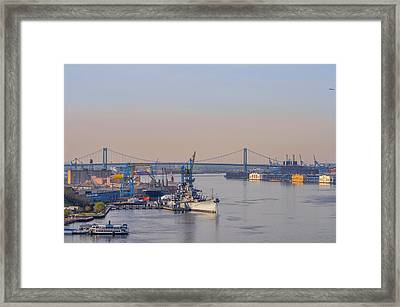 Ports Of Camden And Philadelphia Framed Print by Bill Cannon