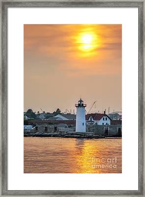 Portsmouth Harbor Lighthouse At Sunset Framed Print by Scott Thorp