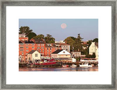 Portsmouth Tugs And Moon Framed Print by Eric Gendron