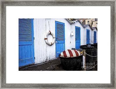 Positano Beach Doors Framed Print by John Rizzuto