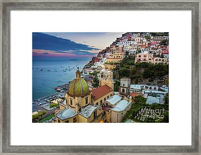 Positano Evening Framed Print by Inge Johnsson