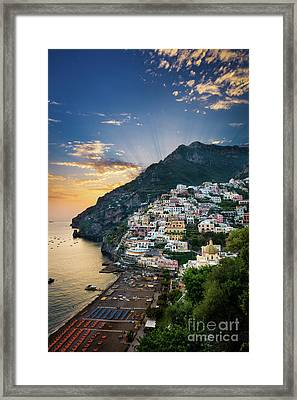Positano Sunset Framed Print by Inge Johnsson