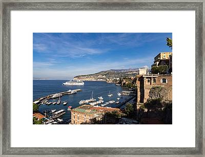 Postcard From Sorrento Italy - The Harbor The Boats And The Famous Clifftop Hotels Framed Print by Georgia Mizuleva