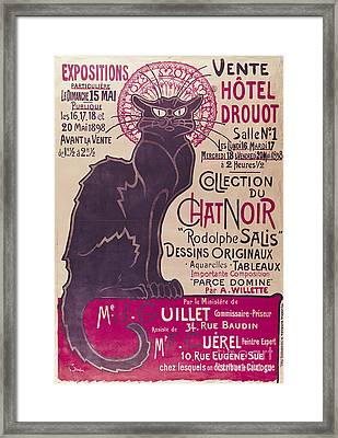 Poster Advertising An Exhibition Of The Collection Du Chat Noir Cabaret Framed Print by Theophile Alexandre Steinlen