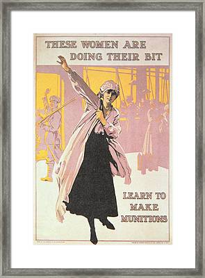 Poster Depicting Women Making Munitions  Framed Print by English School