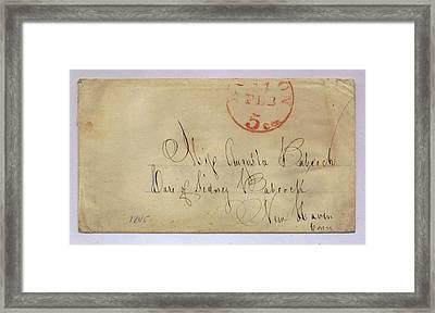 Postmarked And Addressed Envelope Framed Print by Gillham Studios