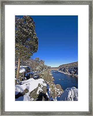 Potomac River At Great Falls National Park During Winter Framed Print by Brendan Reals