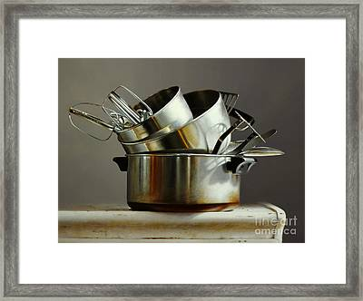 Pots And Pans Framed Print by Larry Preston