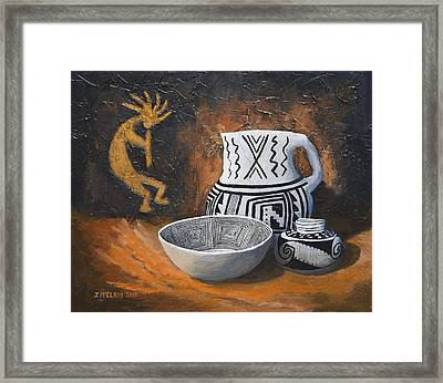 Pottery And Petroglyphs Framed Print by Jerry McElroy
