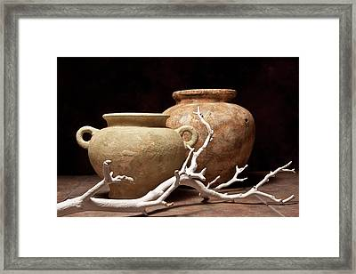 Pottery With Branch I Framed Print by Tom Mc Nemar