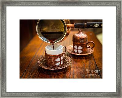 Poured Turkish Coffee Framed Print by Inge Johnsson